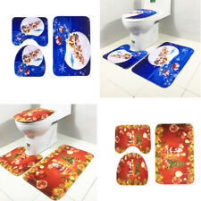 Merry Christmas Toilet Seat Cover Anti Slip Bath Mat Floor Rug Toilet Lid Cover