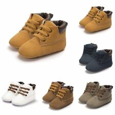 Baby Kid Faux Leather Ankle Boots Boy Girl Toddler Lace-Up Soft Soled Crib Shoes