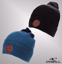 Mens Branded ONeill Knitted Micro Fleece Pompom Dial Wool Mix Beanie Hat
