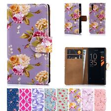 PU Leather Floral Design Book Wallet Case Cover For Sony Xperia XZ