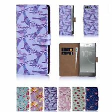PU Leather Floral Design Book Wallet Case Cover For Sony Xperia XZ Premium