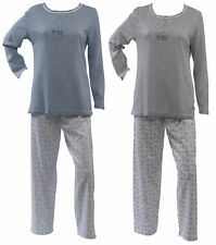 Ladies 100% Jersey Cotton Pyjamas Sheep Motif Top & Dotty Circle Bottoms PJs Set