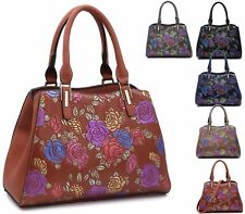 LADIES EMBOSSED MULTI FLORAL ROSE TOP HANDLE TOTE PARTY EVENING SMALL HANDBAG