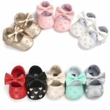 Cute Baby Toddler Girls Bowknot Princess Crib Shoes Soft Sole PU Prewalker 0-18M