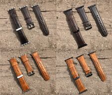 Leather Watch Strap Band for Apple Watch  Series 1 2 3 38/42mm Black Silver fix