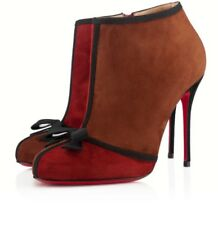 $1195 NEW Christian Louboutin ARNOEUD 85 Brown Red Ankle BOOTS Suede Shoes 37 40