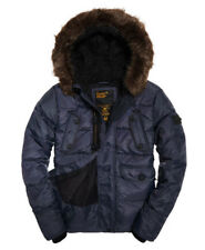 Superdry Mens Chinook Jacket Navy Blue Fur Parka Quilted Windcheater M50010GP