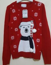Xmas Knitted Jumper Mens Pollar Bear 3D pom pom Christmas Top Primark red BNWT