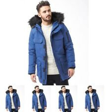 FASHION Bellfield Mens Nimrod Fur Lined Parka Cobalt X-Small Chest 38""