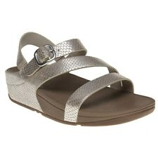 New Womens FitFlop Nude Metallic The Skinny Z Cross Leather Sandals Animal