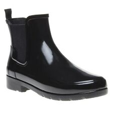 New Womens Hunter Black Original Refined Chelsea Rubber Boots Ankle Elasticated