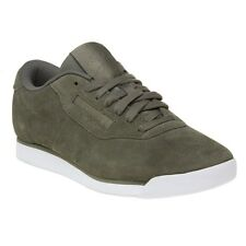 New Womens Reebok Green Khaki Princess Suede Trainers Court Lace Up