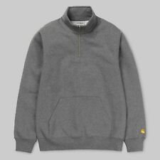 Carhartt Wip LS Chase Zip Neck 13oz Jumper Dark Grey Heather Gold Heavyweight