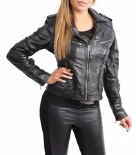 Ladies Leather Biker Jacket Slim Fit Lambskin Casual Zip up Style Kim Black