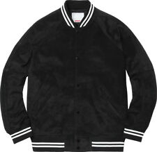 100% Authentic Brand New Supreme Suede Varsity Jacket Black XL SS17