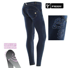 Freddy WR.UP Jeans Skinny WRUP1LJ05E J0/Y COL. Jeans Scuro con STRASS floreali