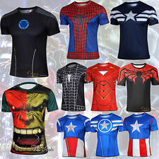 Uomo Marvel CONTENITIVE FUMETTI SUPEREROE SUPERMAN ciclismo t-shirt cosplay