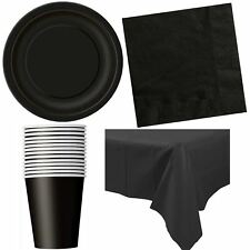 Black Birthday Party Tableware Valentines Catering Plates Cups Napkins