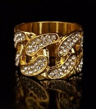 18K Gold Plated ICED OUT CZ CUBAN LINK Band Mens Bling Rhodium Ring