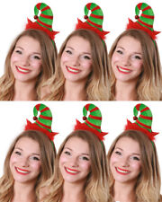 PACK OF MINI ELF HAT HEADBAND WITH BELL CHRISTMAS FANCY DRESS XMAS PARTY LOT