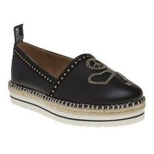 New Womens Love Moschino Black Espadrille Slip On Stud Synthetic Shoes