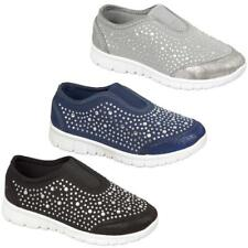 KIDS CHILDRENS GIRLS DIAMANTE FLAT SKATER PUMPS TRAINERS SLIP ON PLIMSOLLS SHOES