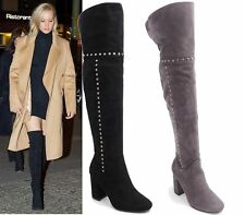 LADIES WOMENS FAUX SUEDE STUDDED OVER THE KNEE THIGH HIGH BLOCK HEEL BOOTS SIZE