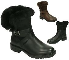 WOMENS LADIES GIRL FAUX FUR LINED MILITARY FASHION BOOTS ANKLE ZIP SHOES SIZE