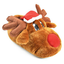 Slumberzzz Adult's Unisex Novelty Christmas Rudolf Reindeer Slippers, Brown/Red