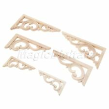 2/4pcs Unpainted Wood Carved Corner Onlay Applique Frame Decal Furniture Decor