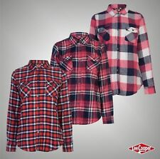 Ladies Designer Lee Cooper Stylish Long Sleeve Flannel Shirt Check Top Size 8-18