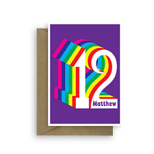 2923801723941g personalised 12th happy birthday card for boy for girl edit name colourful 12 bookmarktalkfo Image collections