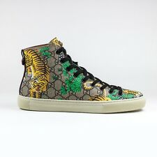 100% Authentic NEW Gucci GG Bengal Print High Top Sneaker Brown