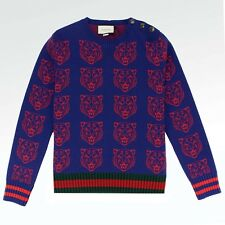 100% Authentic NEW Mens Gucci Tiger Print Jumper Navy RRP £560