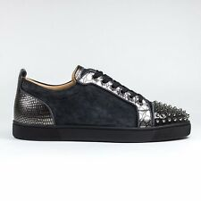 100% Authentic New Mens Christian Louboutin Louis Junior Spikes Suede Charbon