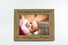 """Personalised Christening Baby Photo Frame 7""""x5"""" FREE Engraving Godparent Gift"""