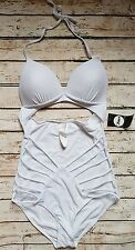 New Boohoo Cut Out Strappy Swimsuit in White Beach Celebrity SE23