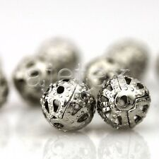 70/160/300pcs Rond Perles métal creation bijoux DIY Nickel/Doré/Argent 4/6/8mm