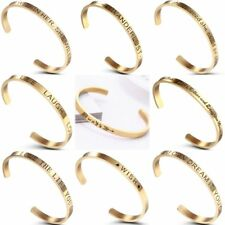 Engraved Gold Stainless Steel Letter Wish Cuff Bangle Bracelet Family Jewellery