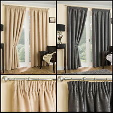Textured Chenille Tape Top Pair Of Luxurious Curtains With Thermal Interlining