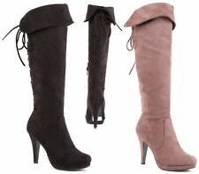 WOMENS FAUX SUEDE KNEE HIGH SEXY LACE UP ZIP STILETTO HEEL BIKER BOOTS SIZE