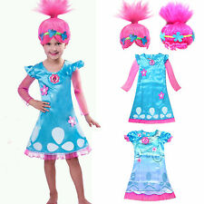 TROLLS PAPAVERO Costume Parrucche bambine VACANZA COSPLAY SET FESTA LOTS
