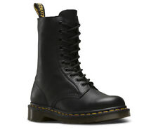 Dr.Martens Ladies 1490 Black Virginia Soft Leather 10-eyelet Lace Up Boots