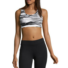 Casall Womens Iconic Sports Support Bra Top Black White Gym Running Breathable