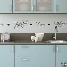 Pasta Names Kitchen Wall Stickers -  Wall Sticker with Pasta words and Hearts