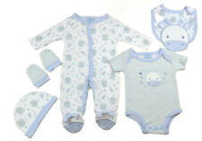 Just Too Cute Baby  5 Piece Layette Clothing Gift Set Sky Blue Giraffe Design