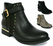 WOMENS LADIES CHUNKY LOW HEEL BUCKLE STRAP CHELSEA BIKER ANKLE BOOTS SIZE