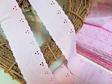 """~Bows Ribbon & Lace~  2"""" Baby Pink Cotton Broderie Anglaise Flat Lace Trim."""