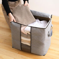 HIGH CAPACITY CLOTHES QUILTS STORAGE BAGS FOLDING ORGANIZER BAGS BAMBOO PORTABLE