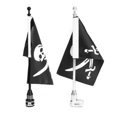 MOTORCYCLE REAR SIDE JOLLY ROGER FLAG POLE MOUNT FOR LUGGAGE RACK HARLEY BLACK